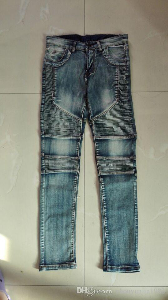 2018 neue Art und Weise Marke Mens Skinny Jeans Mann Runway Distressed dünne elastische Jeans Denim Biker Jeans Hiphop Hosen gewaschen schwarze Hose