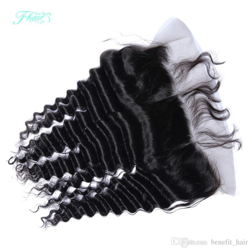8A Full Lace Frontal Closure 13x4 Deep Wave Mongolian Cabello humano De oreja a oreja Top Lace Frontal Piezas Precio al por mayor