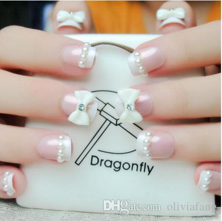 Elegant 3d Fake Nails Diamond Shining Bride Bling Full Cover Flower False Nail Artificial Art Decals Janpanese Natural