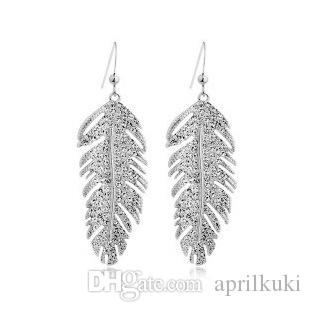 Love Forever 2016 Newest 18 K Gold Silver Love Wings Bridal Luxury Drop Earrings Fashion Korean Feather Jewelry For Women