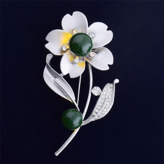 2016 Nuevo Cristal Elegante Broches para Las Mujeres Vintage Retro Moda Joyería de Las Mujeres Chapado En Oro Azul Amber Flor Margarita Broche Pins Mujer
