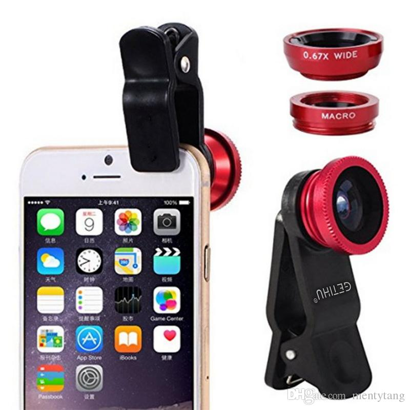 Universal 3 in 1 Fish Eye Cellphone Camera Lens Wide Angle Macro Flashlight Fill Light For IPHONE SAMSUNG MOBILE GIFT