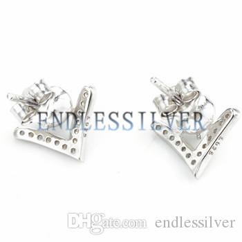 Earring Settings Blank Base V Shape 925 Sterling Silver Cubic Zirconia Mountings Jewellery Findings for Pearl Party
