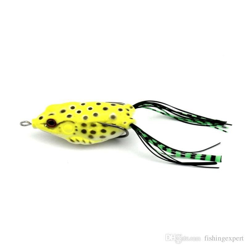 Soft Frog Lure Topwater Bass Fishing Bait with Double Hooks 6cm 18.9g Plastic Lifelike Fishing Tackle for Saltwater