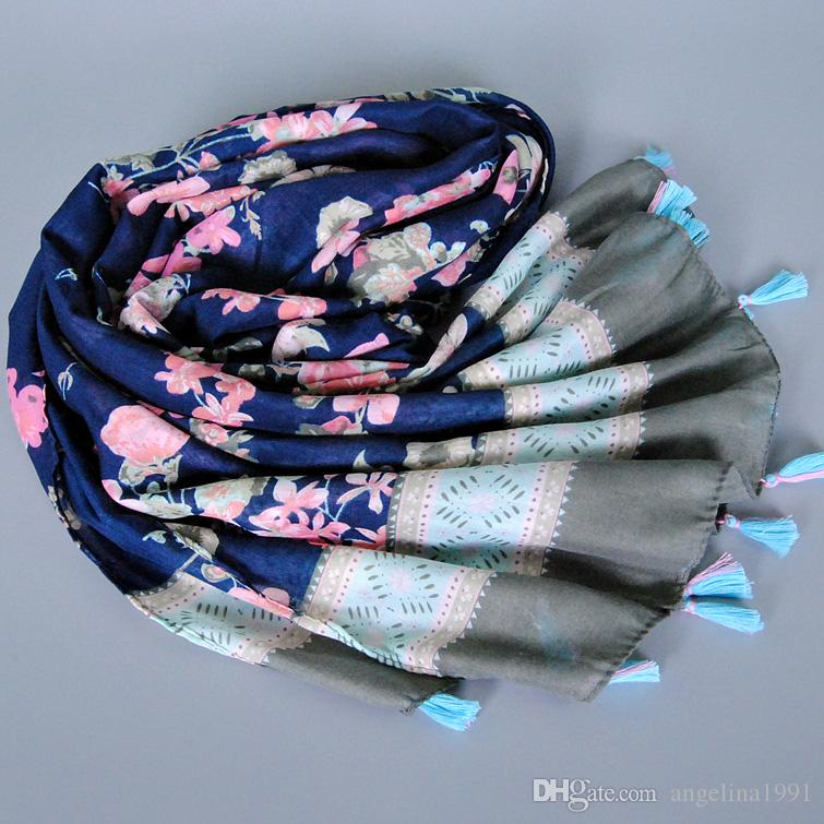 best selling NEW printe floral tassels cotton shawls long muslim head wrap Muffler hijab wrap autumn scarves/scarf