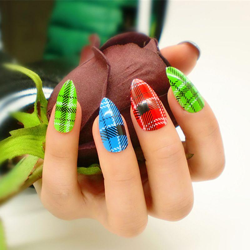 Wholesale Full Cover False Nails Colorful Fake Nails Decoration ...
