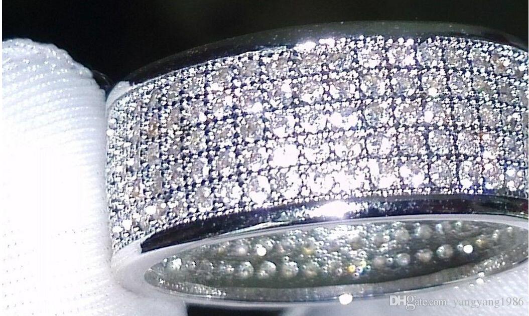 Commercio all'ingrosso - gioielli Diamatique diamante simulato bianco pieno topazio 10KT White Gold Filled donne Wedding band Ring regalo Sz 5-11