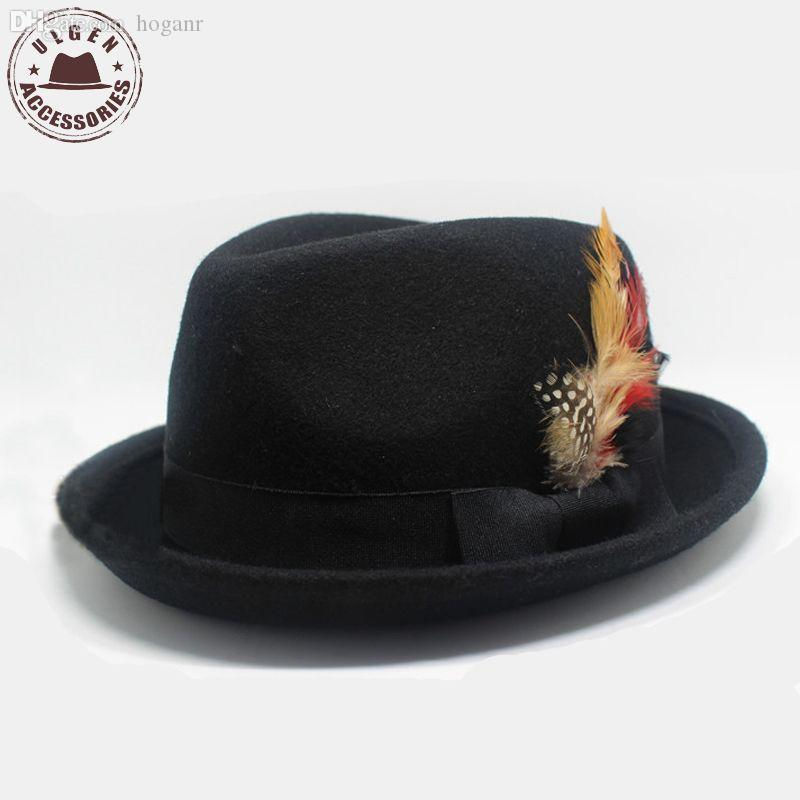 Wholesale Fashion Mens Vintage Fedora Hat With Feather Wool Felt Jazz Hat  Black UK 2019 From Hoganr f18557bbf59