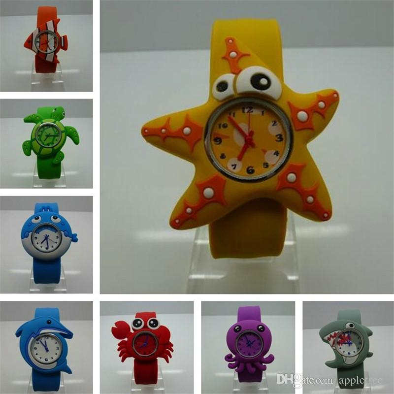 Cartoon Ocean Animal Slap Snap Watch Cute Silicone Wrist Watches wristwatch for Kids Boys Girls Toys Children Christmas Party Gift wholesale