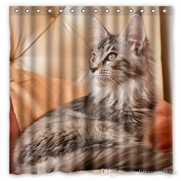 Charmant 2018 Cat Furry Sofa Llying Design Shower Curtain Size 180 X 180 Cm Custom  Waterproof Polyester Fabric Bath Shower Curtains From Littemanthree, ...