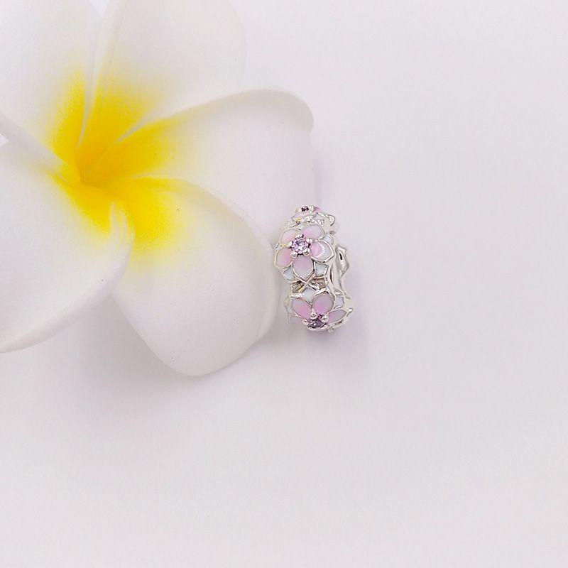 Authentic 925 Sterling Silver Beads Magnolia Bloom Encantos Se Encaixa Pandora Estilo Europeu Jóias Pulseiras Colar Z