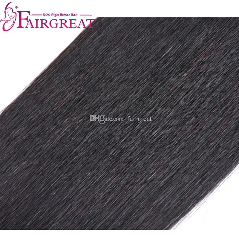 Fairgreat capelli pre-colorati Remy 6 fasci con chiusura pacchi di capelli umani con chiusura in pizzo estensioni vergini brasiliane dei capelli umani