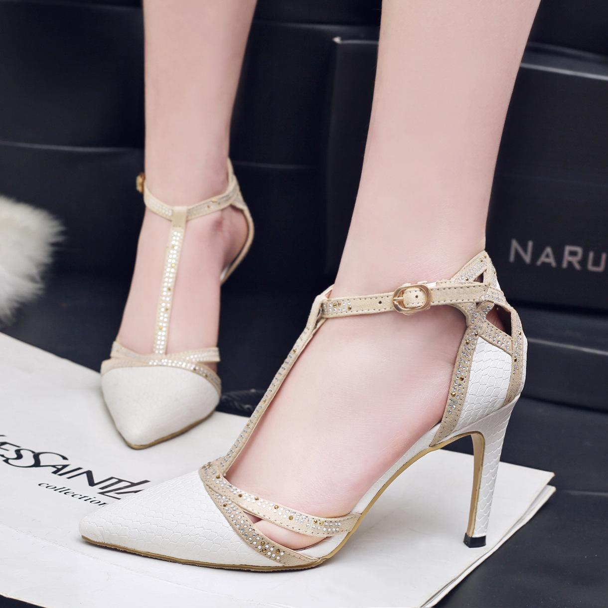 Elegant Bridal Wedding Shoes T Strap High Heel Rhinestone Princess Snake Skin Faux Leather Women Sandals Street Inexpensive