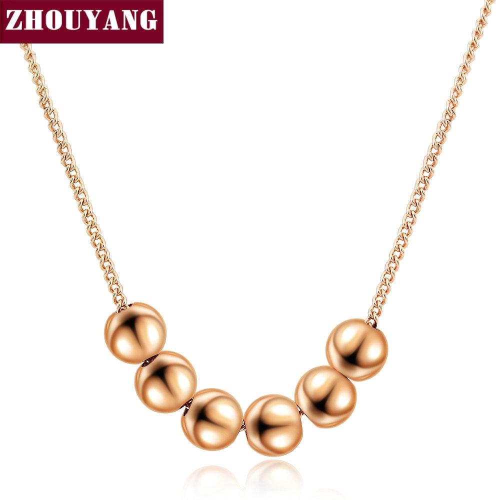 Wholesale Small Bead Ball Rose Gold Color Pendant Necklace Jewelry ...