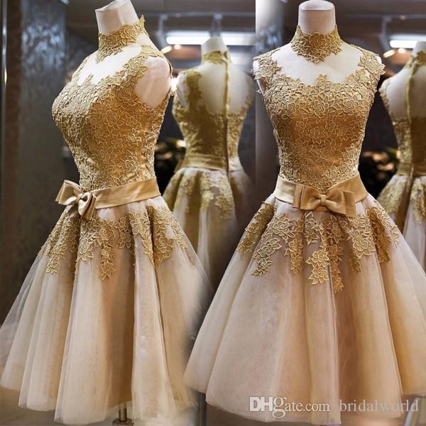 Gold Party Dress a Line