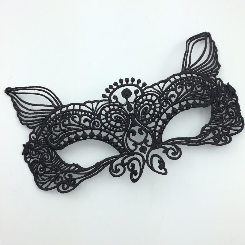 Черная маска Monster Mask Half Face Lace Masks Sexy Masquerade Eye Mask Cutout Veil Mask Carnival Prom Party Mask бесплатная доставка