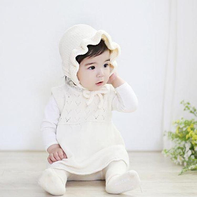 Spring Autumn 2018 Little Kids Girls Crochet Knit Caps Infant Baby Girls Ruffles Princess Hats Children's Warm Wool Blends Cap