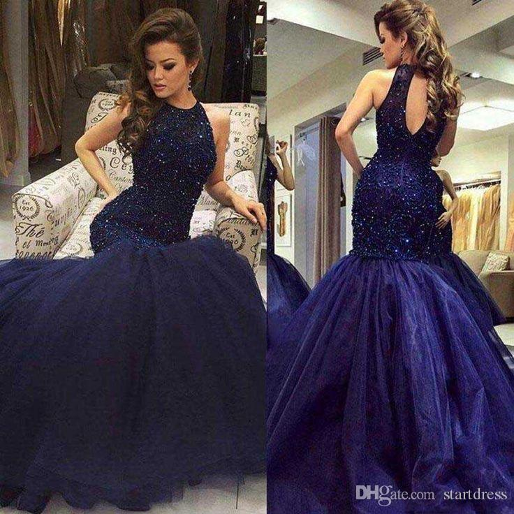Gorgeous Blue Mermaid Evening Gown Elegant Floor Length Organza Long Prom Dresses Sexy Backless Beaded Plus Size Evening Dresses