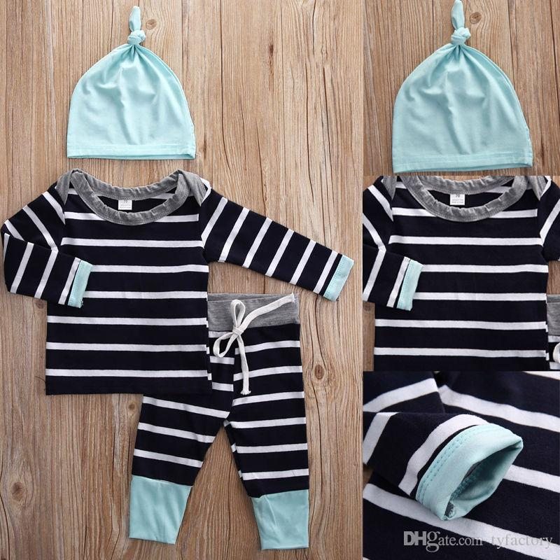 2016 baby suits Newborn Kids Boys Girls cotton striped T-shirt Tops & Pants+Hat casual Clothes good quality boy girl cool Outfits Sets
