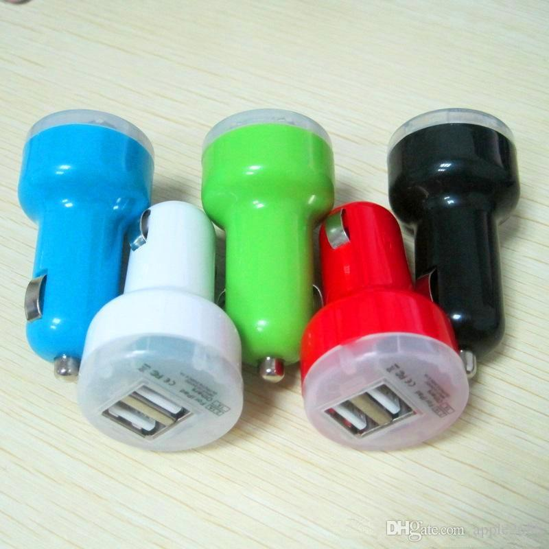 Dual mini nipple Bullet 2 Port 5V/2A USB Car Charger Universal Adapter for iphone 5 5s 6s ipad samsung s5 Free DHL