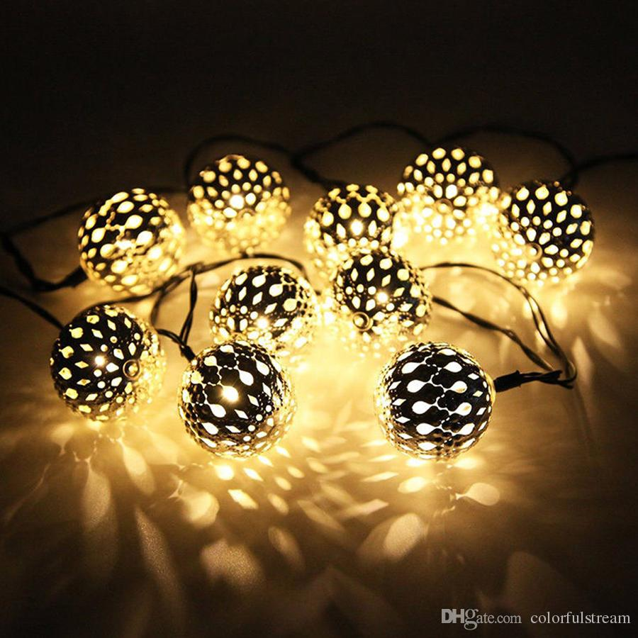 10 moroccan metal ball solar powered string lanterns led indoor or 10 moroccan metal ball solar powered string lanterns led indoor or outdoor fairy lights whitewarm white christmas string c9 string lights from aloadofball Choice Image