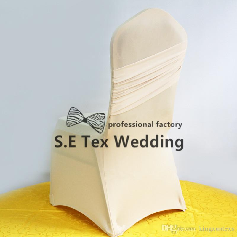Hot Sale Banquet Wedding Lycra Spandex Chair Cover Back With Swag In High Thick Fabric
