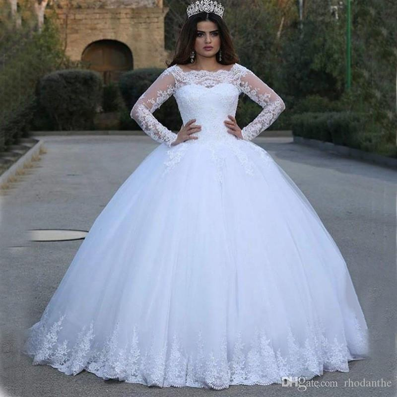 Vintage Gorgeous Sheer Ball Gown Wedding Dresses 2017 Puffy Lace ...