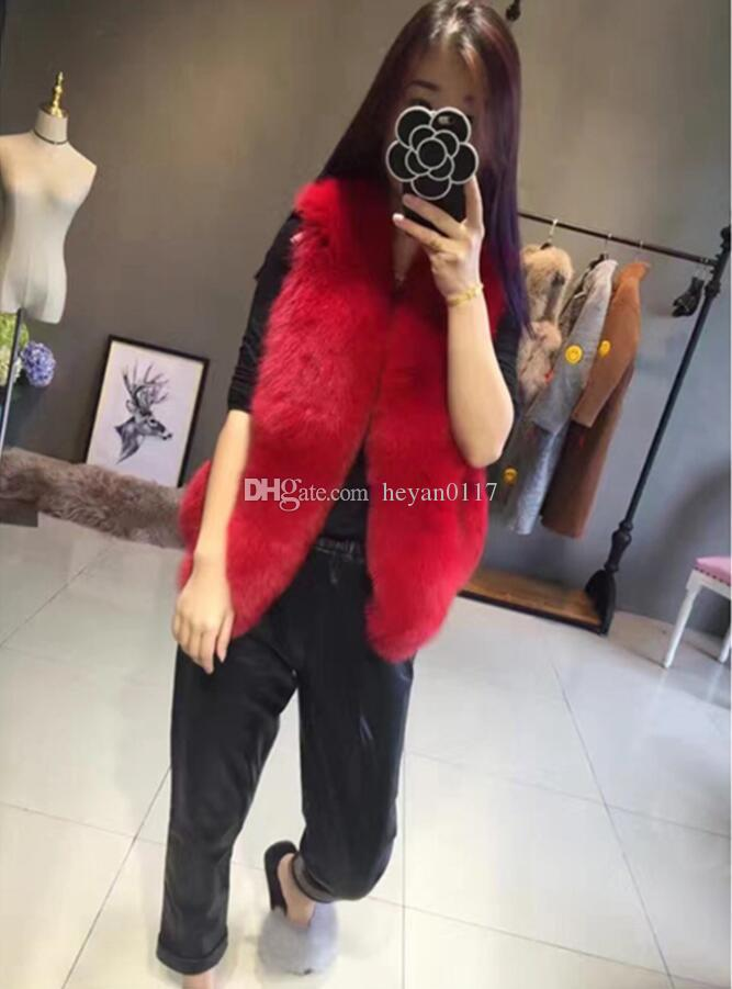 Faux Fur Gilet 2017 Pink/Black Faux Fox Fur Vest White/Black Slim Plus Size Short Faux Fur Jacket And Coat S-4XL