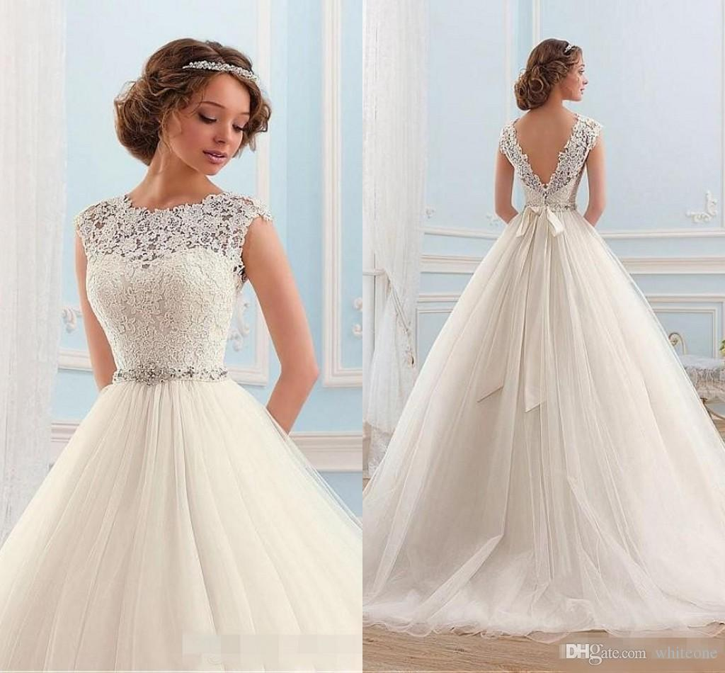 Discount vintage 2016 a line wedding dresses cap sleeves sexy open discount vintage 2016 a line wedding dresses cap sleeves sexy open back lace appliques sash white tulle cheap garden western country bridal gowns long junglespirit Images