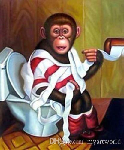 Framed Funny Monkeys Pure Hand Painted New Jpg