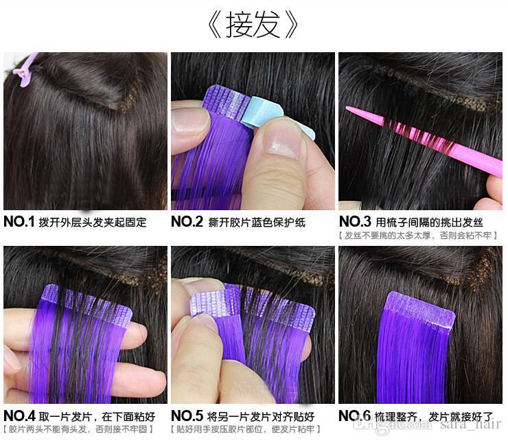 Sara Ombre Klip 100% Gerçek İnsan Saç Uzatma Düz Saç Parçaları Postiş Kadın Doğal Saç Için 16 Renk 50 CM, 20 INÇ Yüksek Kalite