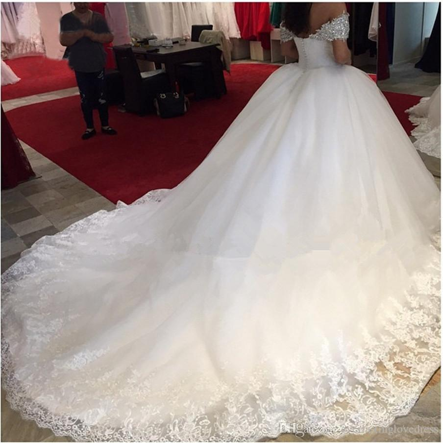 Off The Shoulder Two Straps Rhinestones Crystals Ball Gowns Wedding Dress Lace Top Chapel Train Bridal Gowns Lace Up/Zipper