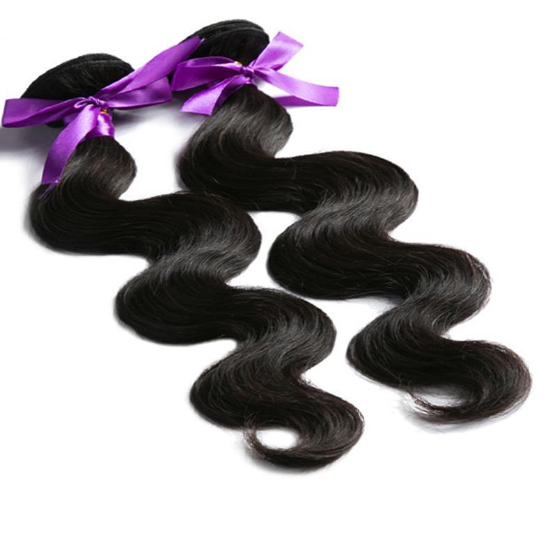2 번들 브라질 머리 바디 웨이브 원시 천연 인간의 머리카락 1 레이스 폐쇄, 처리되지 않은 머리카락을 염색 할 수 있습니다 -2