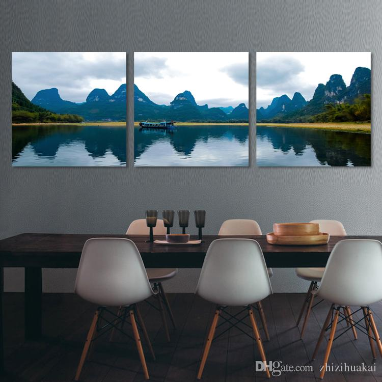 unframed Home decoration picture Canvas Prints Abstract tree Golden lotus leaf flower fish grassland mountain river