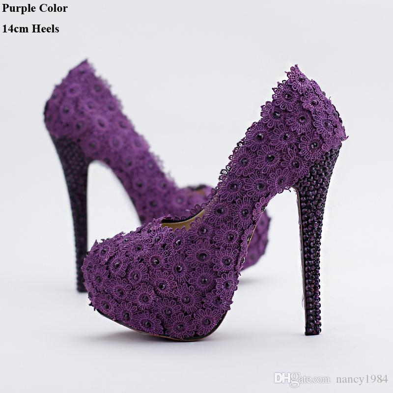 2019 Purple Flower Rhinestone Bridal Shoes High Heels Stiletto Shoes Performance Party Pumps Wedding Party Prom Women Shoes