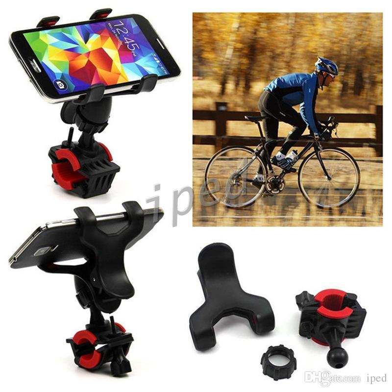 Universal Bicycle Motorcycle Phone GPS Mount Holder With Dual Clip 360 Degree Rotate Adjustable Cradle Handlebar for iPhone + retail box 100