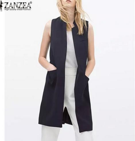 Spring Autumn 2016 Fashion Women Open Stitch Slim Waistcoat Long ...