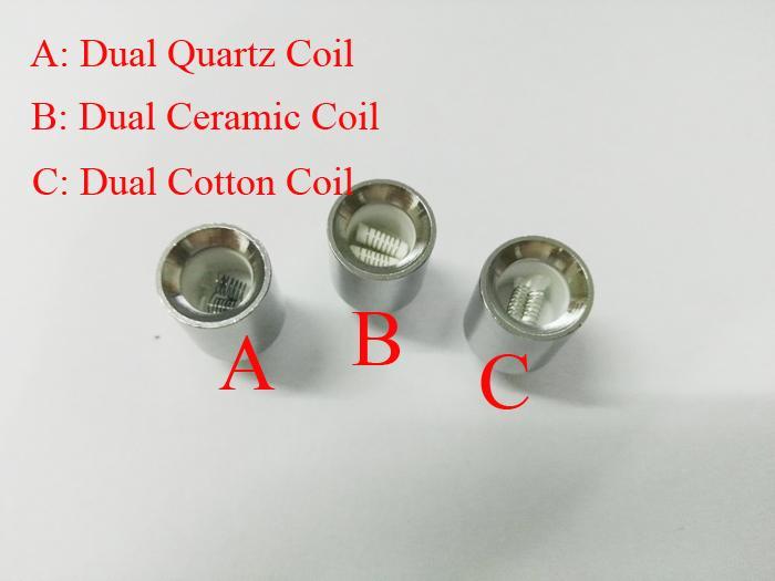 Update Dual wax coils for cannon vaporizer atomizer vape double coil dual coil Quartz Ceramic rod wax Glass globe metal vase cartomizer