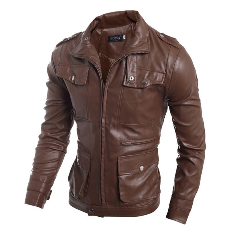 7a71b4f418d7f Wholesale Men Designed Multi Buckle Korean Minimalist Slim Leather Jacket  Dark Brown/Light Brown/Black M 2XL Very Mens Coats Discount Mens Jackets  From ...