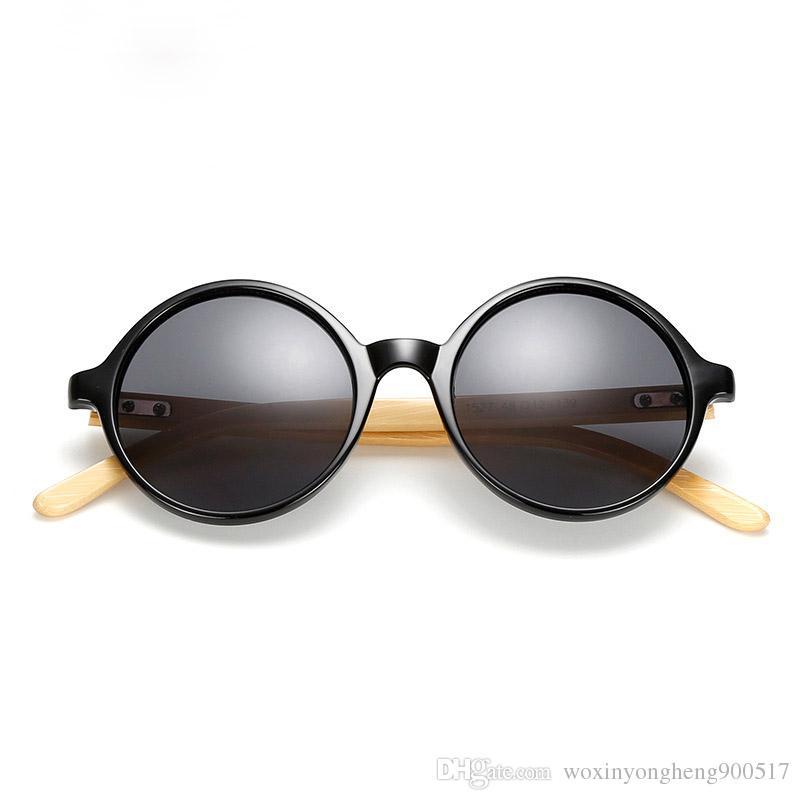 Óculos de sol de madeira New handmade pernas de bambu óculos de sol natural pernas de bambu homens óculos mulheres rodada óculos redondos 6 seleção de cor