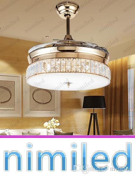2018 Nimi931 Invisible Ceiling Fan Lights Living Room Crystal Lamp ...