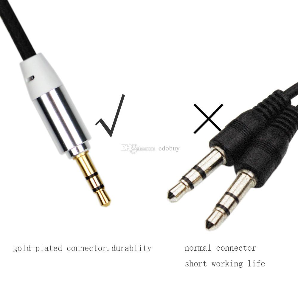 3.5mm jack Male to Male Stereo Audio Aux Cable For car Headphone Speaker PC Fits For iphone 5S 6 6plus