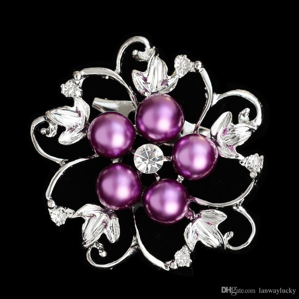 Monili di modo dell'annata nobile argento lega di cristallo strass perla spilla spille pin bouquet da sposa fiore regalo di nozze le donne