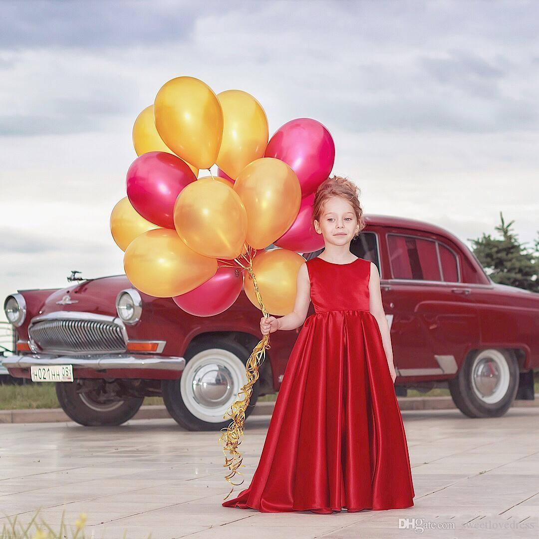 cute Red Satin Bow Pageant Dress for girl long A-Line Jewel Neck Graduation Birthday Gown Kids Backless Prom Dresses