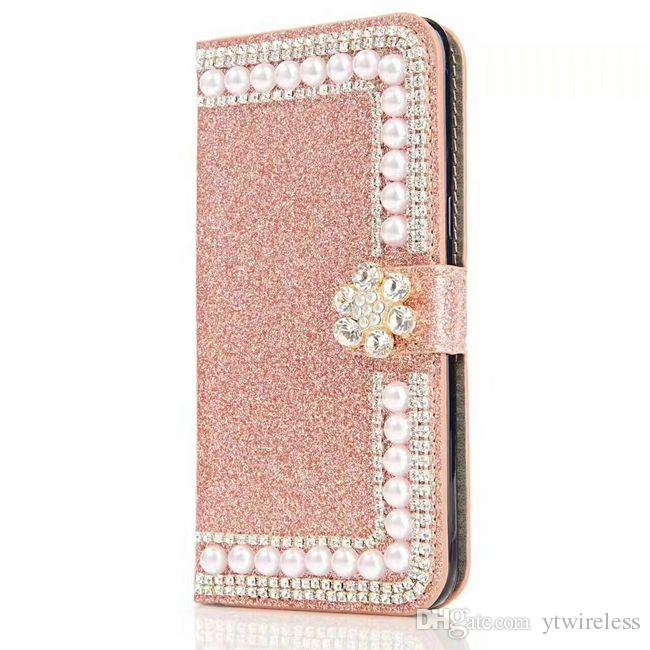 For Motorola Moto G4 Plus E4 G5 Plus Bling Bling Rhinestone Diamond Pearl Leather Wallet Case Shinny Colorful Cover Glitter Pouch Low Price