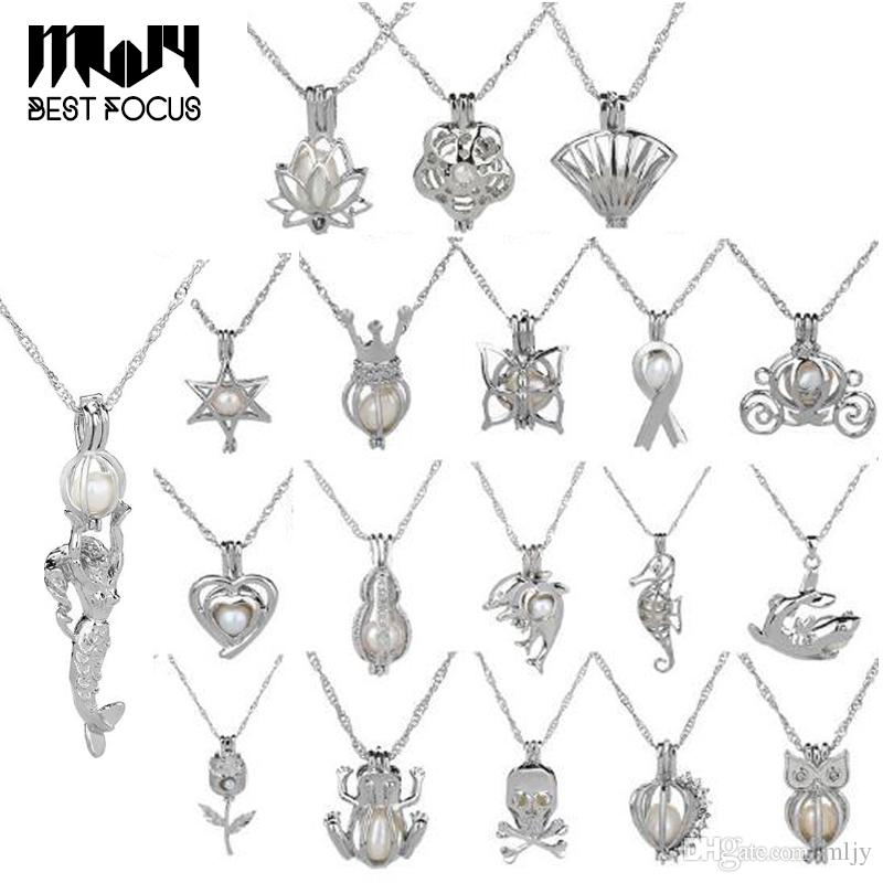 Natürlicher Süßwasserperlenkäfig Anhänger Halskette Silber Pendant Pendel Pearl Schmuck für Frauen Edelstein Perlen Käfig Anhänger 14 Arten Kostenloser DHL