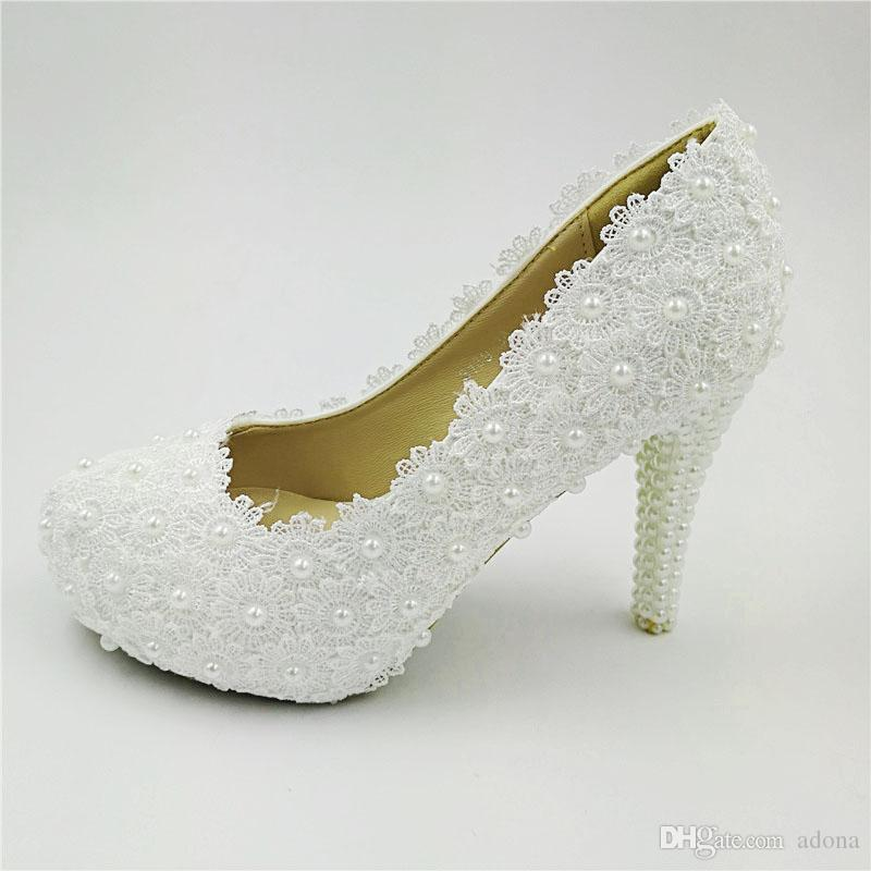 Hnadmade women sweet white flowers lace platform high heels pearl hnadmade women sweet white flowers lace platform high heels pearl wedding shoes bride white dress shoes best shoes stacy adams shoes from adona mightylinksfo