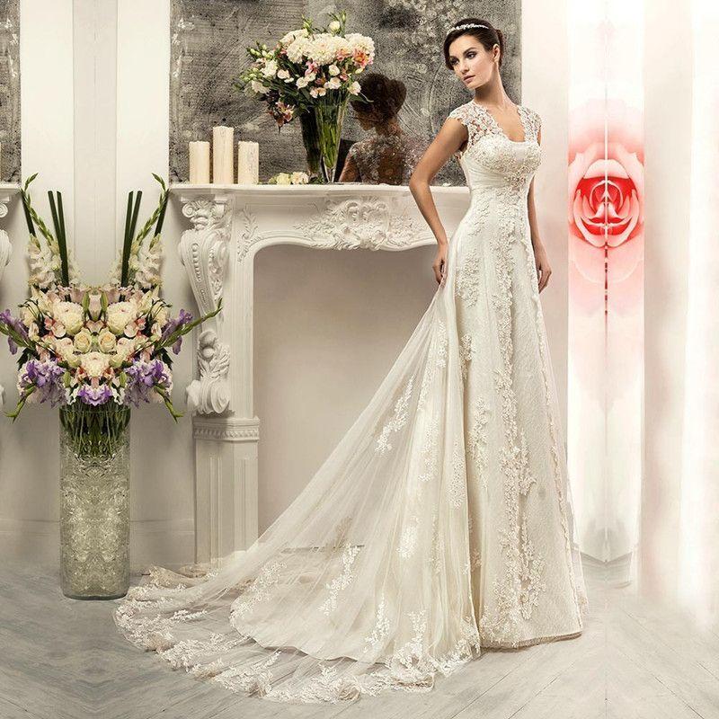 Großhandel 2016 Einfache Eine Linie Elfenbein Vintage Brautkleid ...
