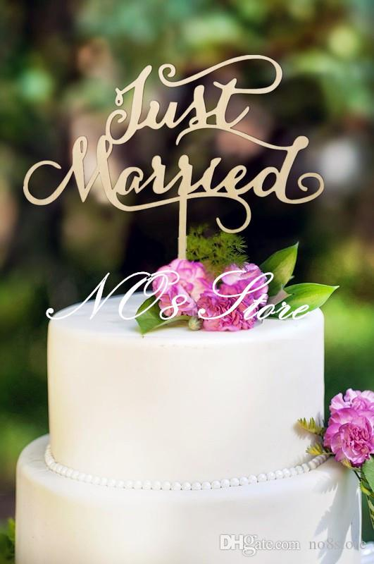 Grosshandel Just Married Hochzeitstorte Topper Holz Cake Topper
