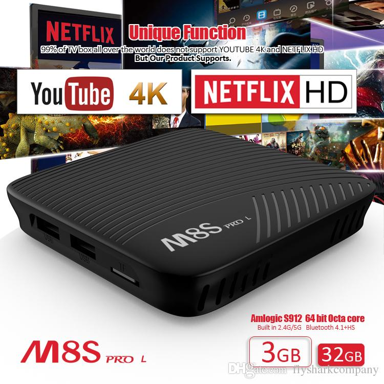 3GB 32GB MECOOL M8S PRO Octa core Amlogic S912 Android TV Boxes support  2 4G/5G WIFI YouTube 4K Netflix HD IPTV STB Emulator Stalker